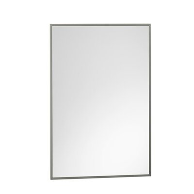 """Contemporary 23"""" x 30"""" Solid Wood Framed Bathroom Mirror in Slate Gray"""