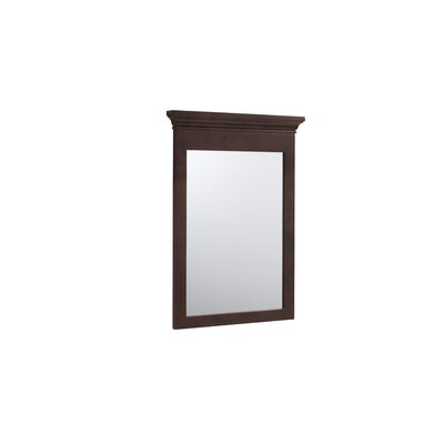 "Transitional 24"" x 33"" Solid Wood Framed Bathroom Mirror in Vintage Walnut"