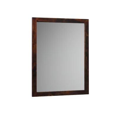 Contemporary Solid Wood Framed Bathroom Mirror in Vintage Walnut