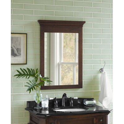 "Transitional 24"" x 33"" Solid Wood Framed Bathroom Mirror in Caf Walnut"