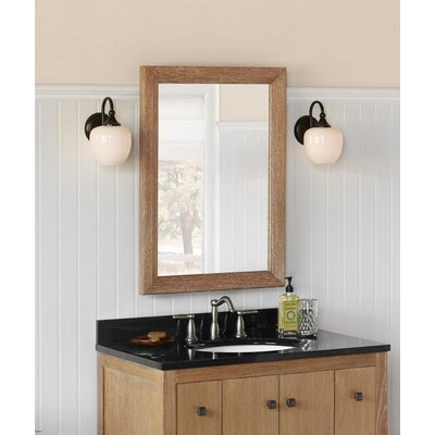 "Transitional 24"" x 33"" Solid Wood Framed Bathroom Mirror in Vintage Honey"