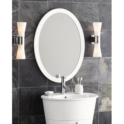 Contemporary Solid Wood Framed Oval Bathroom Mirror in Glossy White