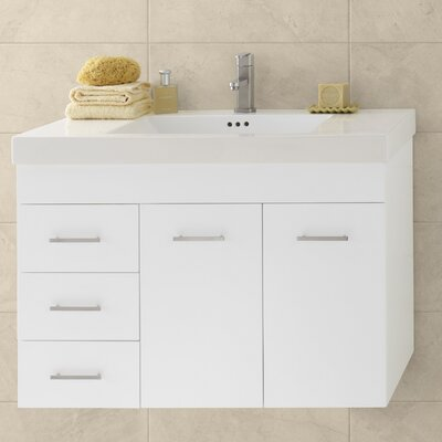 Wall Hung 32 Wall Mount Bathroom Vanity Base Base Finish: Cinnamon, Orientation: Left