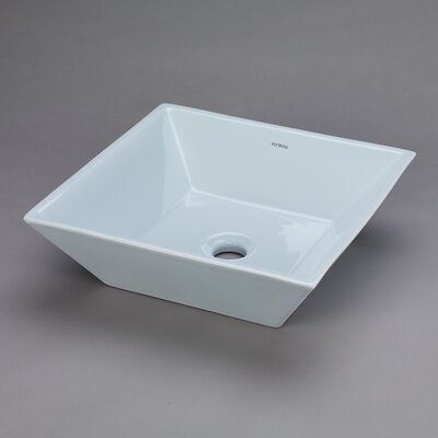 Formation Ceramic Square Vessel Bathroom Sink Sink Finish: Sky Blue