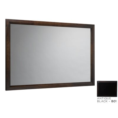 "Transitional 60"" Solid Wood Framed Bathroom Mirror in Antique Black"