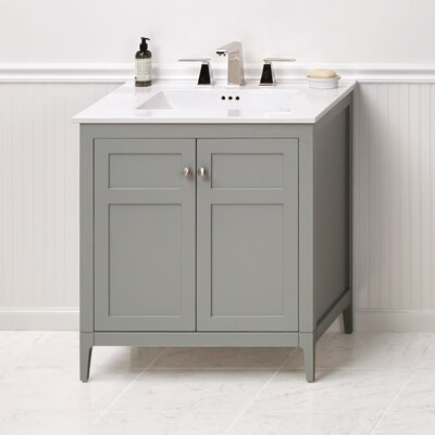 "Briella 30"" Bathroom Vanity Cabinet Base in Ocean Gray"