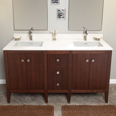 "Sophie 60"" Bathroom Double Vanity Base in American Walnut"