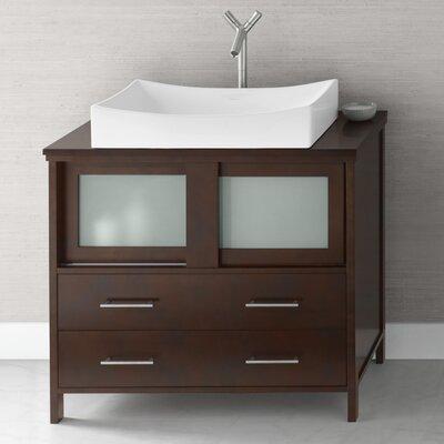 Minerva 36 Bathroom Vanity Base Cabinet in Dark Cherry