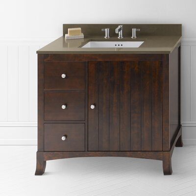 Hampton 36 Bathroom Vanity Cabinet Base in Vintage Walnut - Door on Right