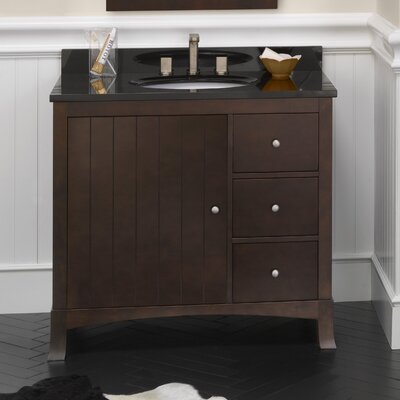 Hampton 36 Bathroom Vanity Cabinet Base in Vintage Walnut - Door on Left