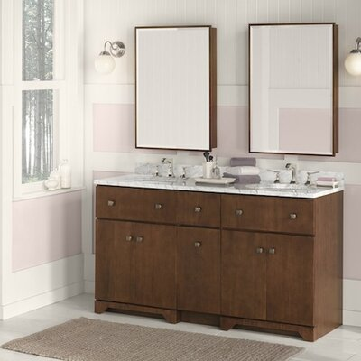 Amberlyn 60.5 Double Bathroom Vanity Set with Mirror