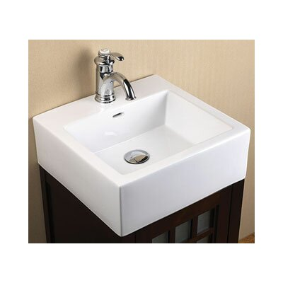 Ceramic Rectangular Vessel Bathroom Sink with Overflow