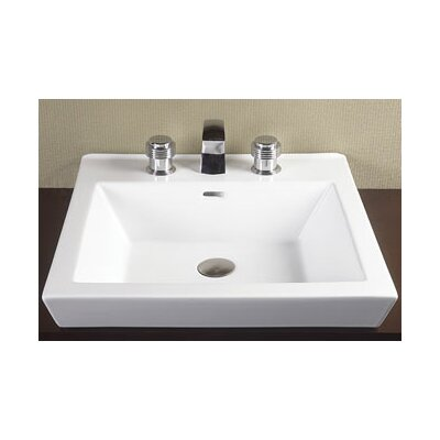 Tapered Ceramic Rectangular Vessel Bathroom Sink with Overflow Faucet Mount: 8 Centers