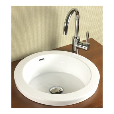 Round Ceramic Circular Drop-In Bathroom Sink with Overflow