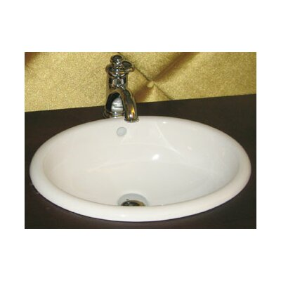 Ceramic Circular Drop-In Bathroom Sink with Overflow