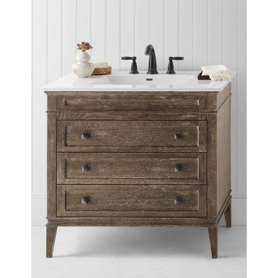 Neo-Classic Laurel Wood Cabinet Vintage Honey Vanity Base