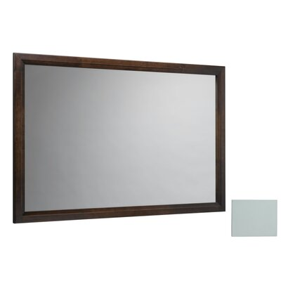 "Transitional 60"" x 39"" Solid Wood Framed Bathroom Mirror in Caf Walnut"