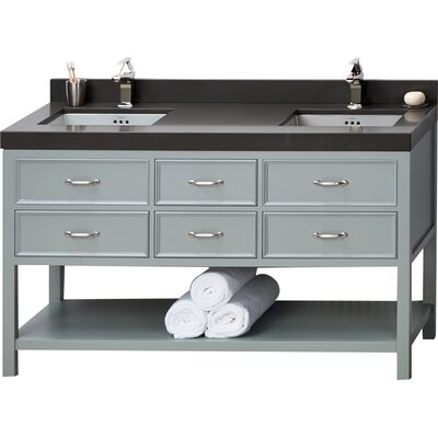 Newcastle 60 Double Bathroom Vanity Base Finish: Ocean Gray