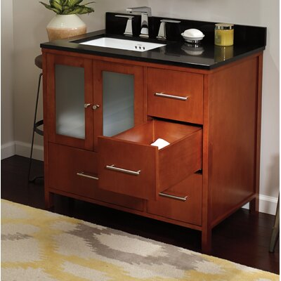 Contempo Juno Cinnamon Vanity Base w/ Single Hole Faucet Drillings and Left Side Door