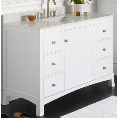 "Hampton 48"" Bathroom Vanity Cabinet Base in White"