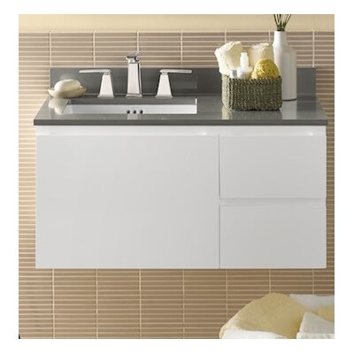 Vanessa 36 Wall Mount Bathroom Vanity Base Cabinet in Glossy White - Large Drawer on Left