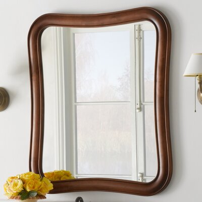 Vintage Fancy Solid Wood Framed Bathroom Mirror in Colonial Cherry