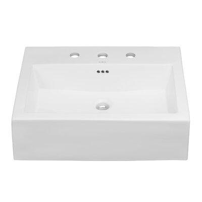Ronbow Ceramic Rectangular Vessel Bathroom Sink with Overflow Faucet Mount: 8 Centers