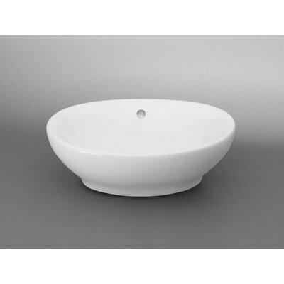 Ceramic Oval Vessel Bathroom Sink with Overflow