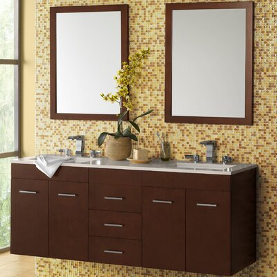 Bella 61 Double Bathroom Vanity Set with Mirror