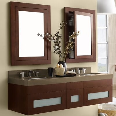 Rebecca 58 Double Bathroom Vanity Set with Mirror