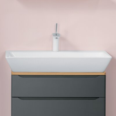 Wide Ceramic Rectangular Vessel Bathroom Sink