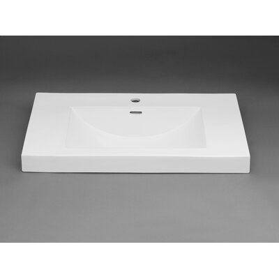 Evin? Self rimming Bathroom Sink with Overflow Faucet Mount: 8 Centers