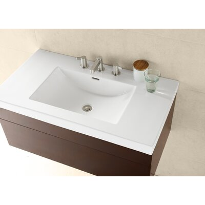 Evin Ceramic Rectangular Drop-In Bathroom Sink with Overflow Sink Finish: Cool Gray, Faucet Mount: 8 Centers