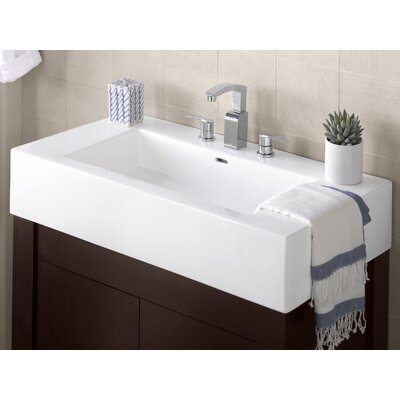Prominent Ceramic Rectangular Vessel Bathroom Sink with Overflow Faucet Mount: 8 Centers
