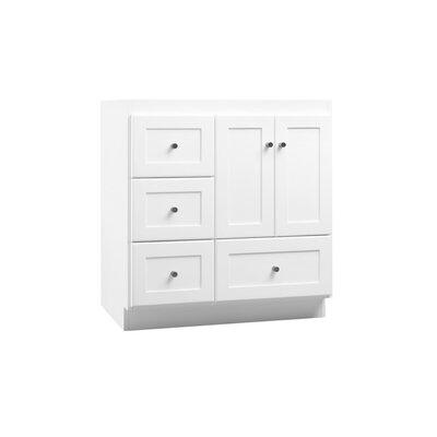 Shaker 30 Bathroom Vanity Cabinet Base in White - Wood Doors on Right