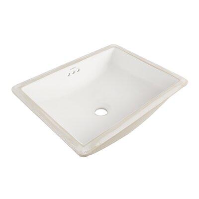 Plane Ceramic Rectangular Undermount Bathroom Sink with Overflow Sink Finish: White