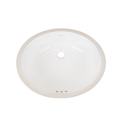 Halo Ceramic Oval Undermount Bathroom Sink with Overflow Finish: White