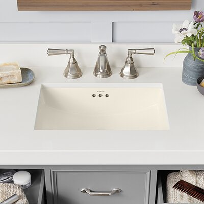 Plane Ceramic Rectangular Undermount Bathroom Sink with Overflow Sink Finish: Biscuit