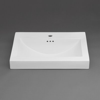 Ronbow Ceramic Rectangular Vessel Bathroom Sink with Overflow Top Finish: White, Faucet Mount: Single Hole