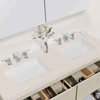 Brit Ceramic Rectangular Undermount Bathroom Sink with Overflow