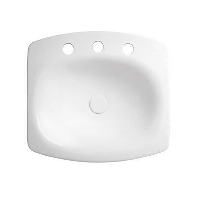 Brit Ceramic Rectangular Drop-In Bathroom Sink Faucet Mount: 8 Widespread