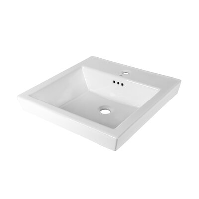 Tapered Ceramic Rectangular Vessel Bathroom Sink with Overflow Faucet Mount: Single Hole