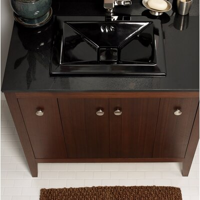 Pyramid Ceramic Rectangular Drop-In Bathroom Sink with Overflow Sink Finish: Black