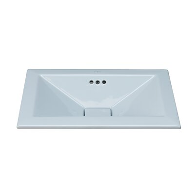 Pyramid Ceramic Rectangular Drop-In Bathroom Sink with Overflow Sink Finish: Sky Blue