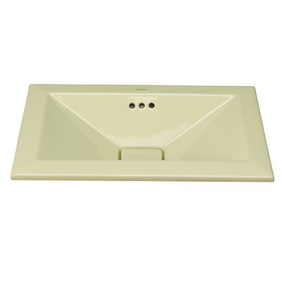 Pyramid Ceramic Rectangular Drop-In Bathroom Sink with Overflow Sink Finish: Pear Green