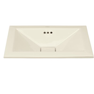 Pyramid Ceramic Rectangular Drop-In Bathroom Sink with Overflow Sink Finish: Biscuit