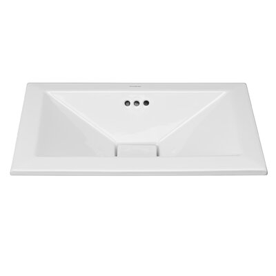 Pyramid Ceramic Rectangular Drop-In Bathroom Sink with Overflow Sink Finish: White