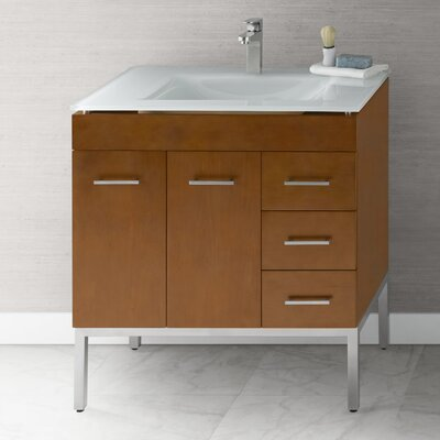 "Venus 31"" Bathroom Vanity Base Cabinet in Cinnamon - Doors on Left, Metal Legs"