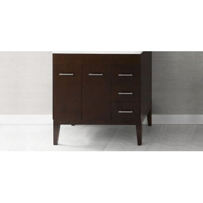 Venus 31 Bathroom Vanity Base Cabinet in Dark Cherry - Doors on Left, Wood Legs