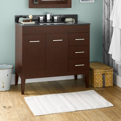 "Venus 36"" Bathroom Vanity Base Cabinet in Dark Cherry - Doors on Left, Wood Legs"